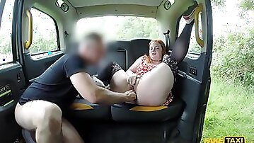 Mature with fat ass, pure British fake taxi porn