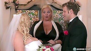 Curvy BBW bride Samantha 38G My Big Plump Wedding - spanking & cum in mouth