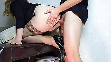 Teen School Teacher after work gives a big rump plow - cum-shot on stockings