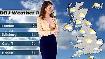Naughty British weather girl lets her tits come out