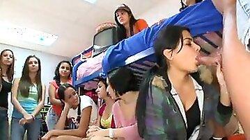 Male stripper blown by girls in dorm room
