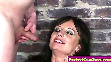 Blow banged British MILF facialized by many