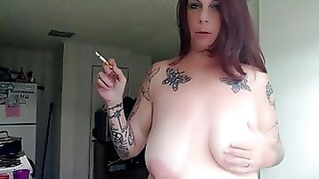Milf having a Smoke talking Dirty after getting Fucked