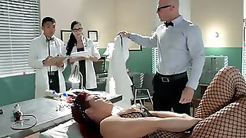 Dr. Johnny Sins and students study female sexuality with Ryder Skye