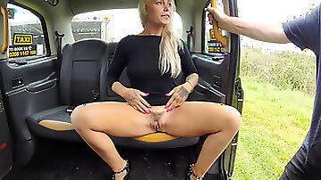 Hairy milf Nova fucked in missionary with legs up in the taxi cab