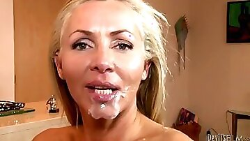 Amazing compilation of facial cumshots with sexy babes