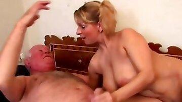 Grandpa banging younger chick